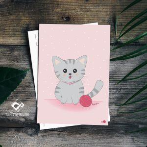 carte postale chaton création française