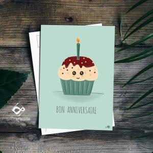 carte postale cupcake anniversaire création française