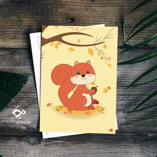carte postale écureuil création française