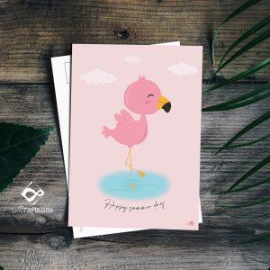 carte postale flamand rose création française