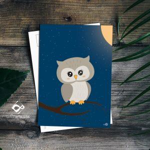 carte postale hibou création française