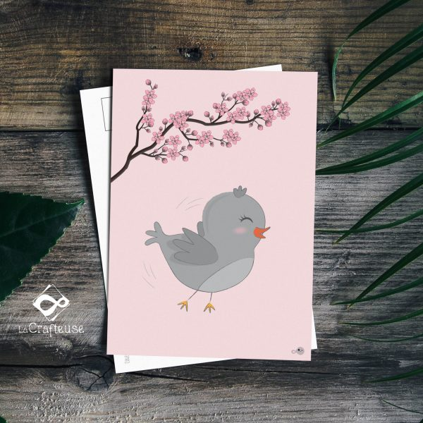 carte postale oiseau gris création française