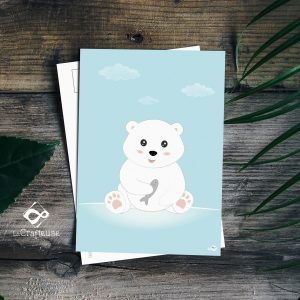 carte postale ours blanc création française
