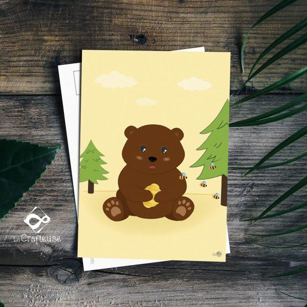 carte postale ours brun création française
