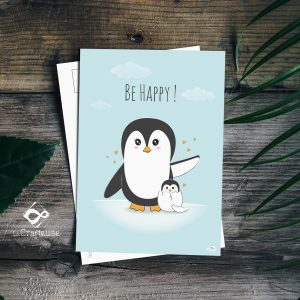 carte postale pingouins création graphique