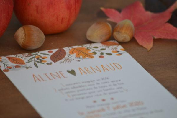 carton de mariage sur le thème de l'automne