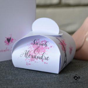 boite dragees souvenir de mariage sur le thème romantique de Paris