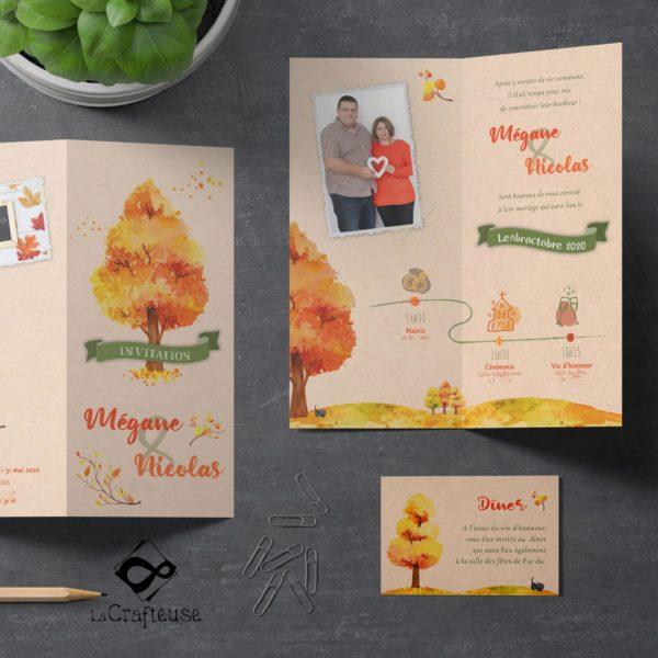 invitation mariage sur le thème de l'automne