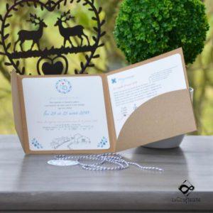 Faire-part de mariage champêtre bleu blanc rouge