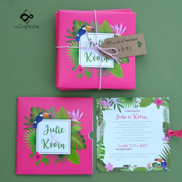 invitation mariage tropical