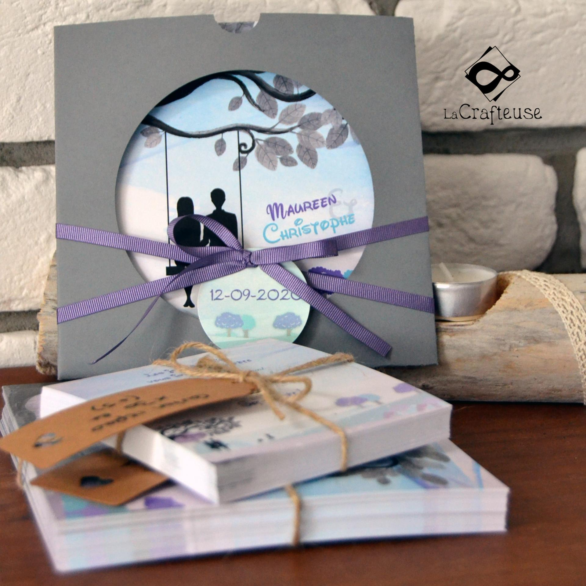 invitation mariage turquise et violet