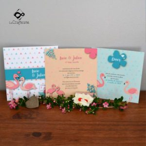 invitation mariage flamand rose