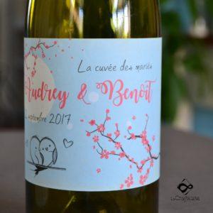 etiquette bouteille la Cuvée des mariés