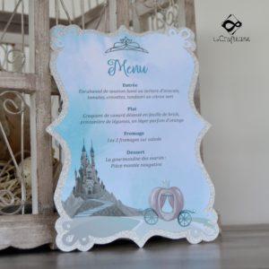 menu decoupe pour mariage sur le thème du conte de fée