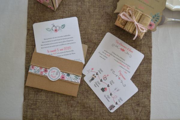 Faire-part de mariage champêtre floral