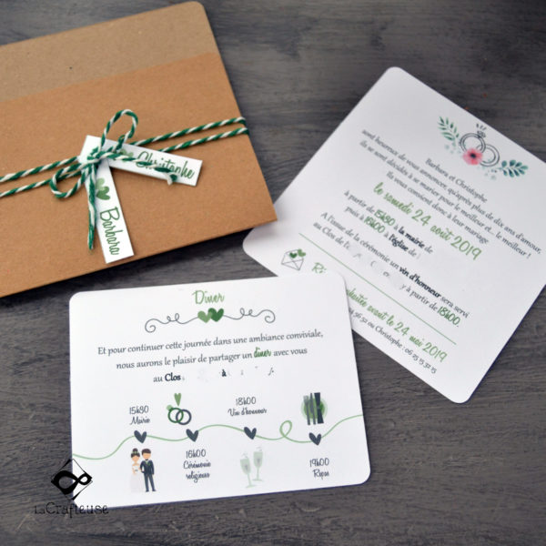 Faire-part et invitation de mariage sur le thème champêtre et floral - Atelier Amiens