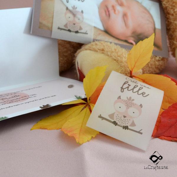 Faire-part de naissance sur le thème de l'automne