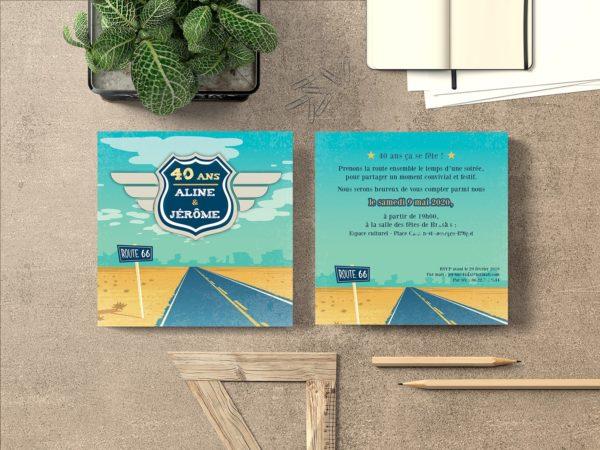 route 66 invitation jaune et bleu