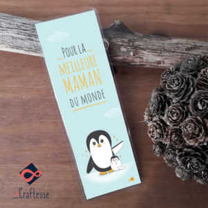 Marque page maman pingouin