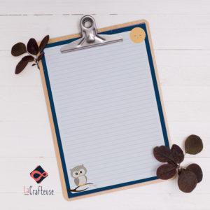 papier à lettres hibou