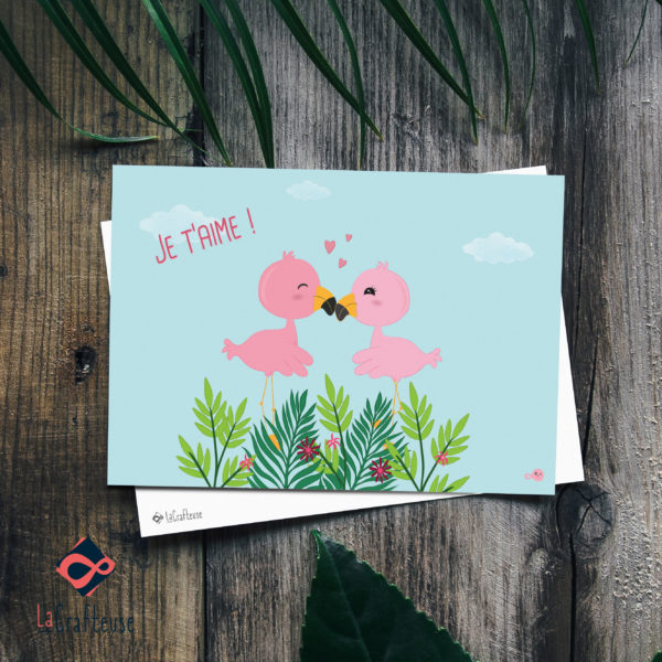 carte postale Flamands roses amoureux saint valentin