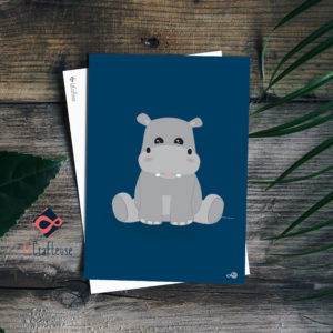 carte postale hippopotame mignon
