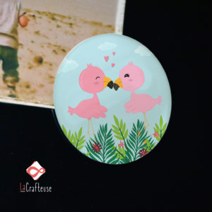magnet aimant flamand rose cadeau amoureux made in france