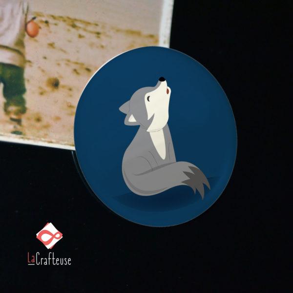 aimant frigo mignon loup illustration artisan