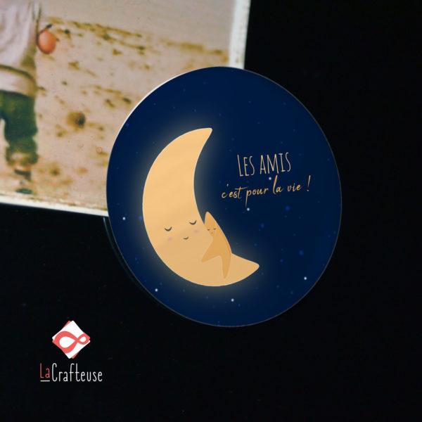 magnet cadeau calin lune etoile meilleur ami