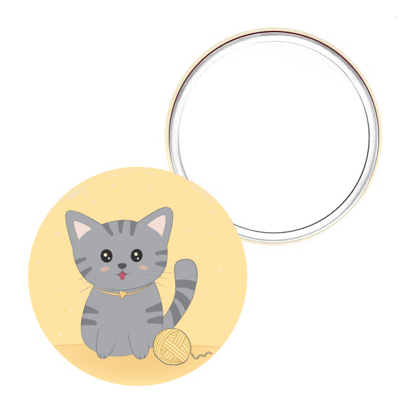 miroir de poche original 75mm chat mignon