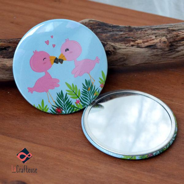 miroir de poche_75mm couple flamands roses cadeau france