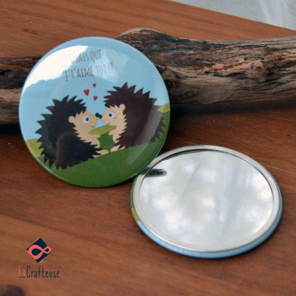 miroir de poche_75mm famille herissons cadeau pas cher