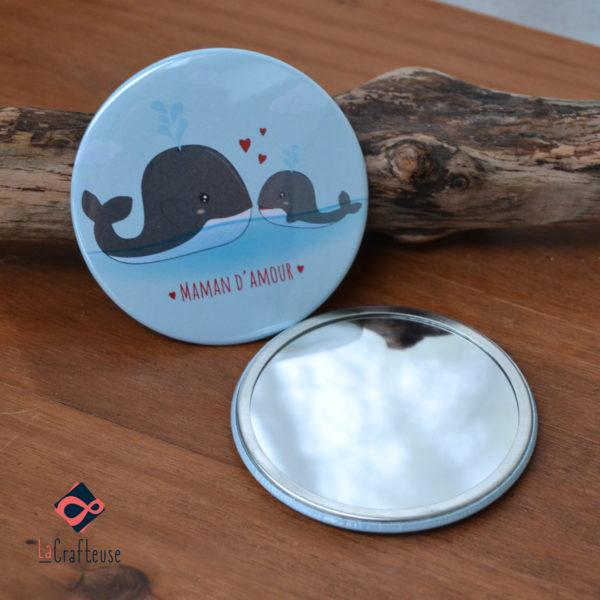 miroir de poche original 75mm baleine cadeau maman oise pas cher