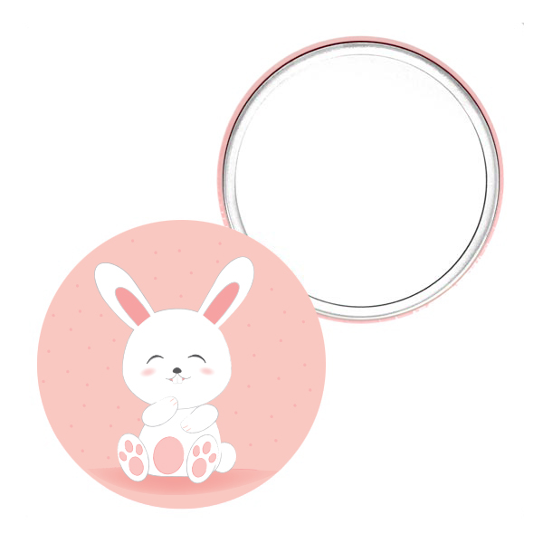 miroir de poche_75mm lapin rose cadeau femme petit prix