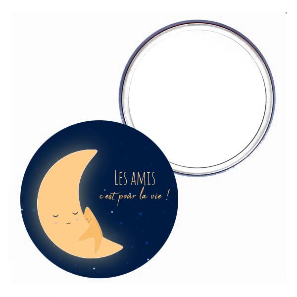 miroir de poche_75mm lune et etoile amitié cadeau petit prix