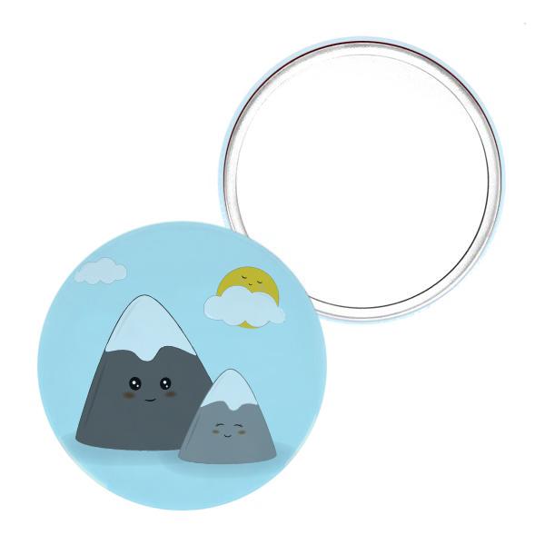 miroir de poche original 75mm montagne cadeau petit prix mignon