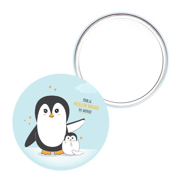 miroir de poche_75mm maman pingouin cadeau artisanal mignon
