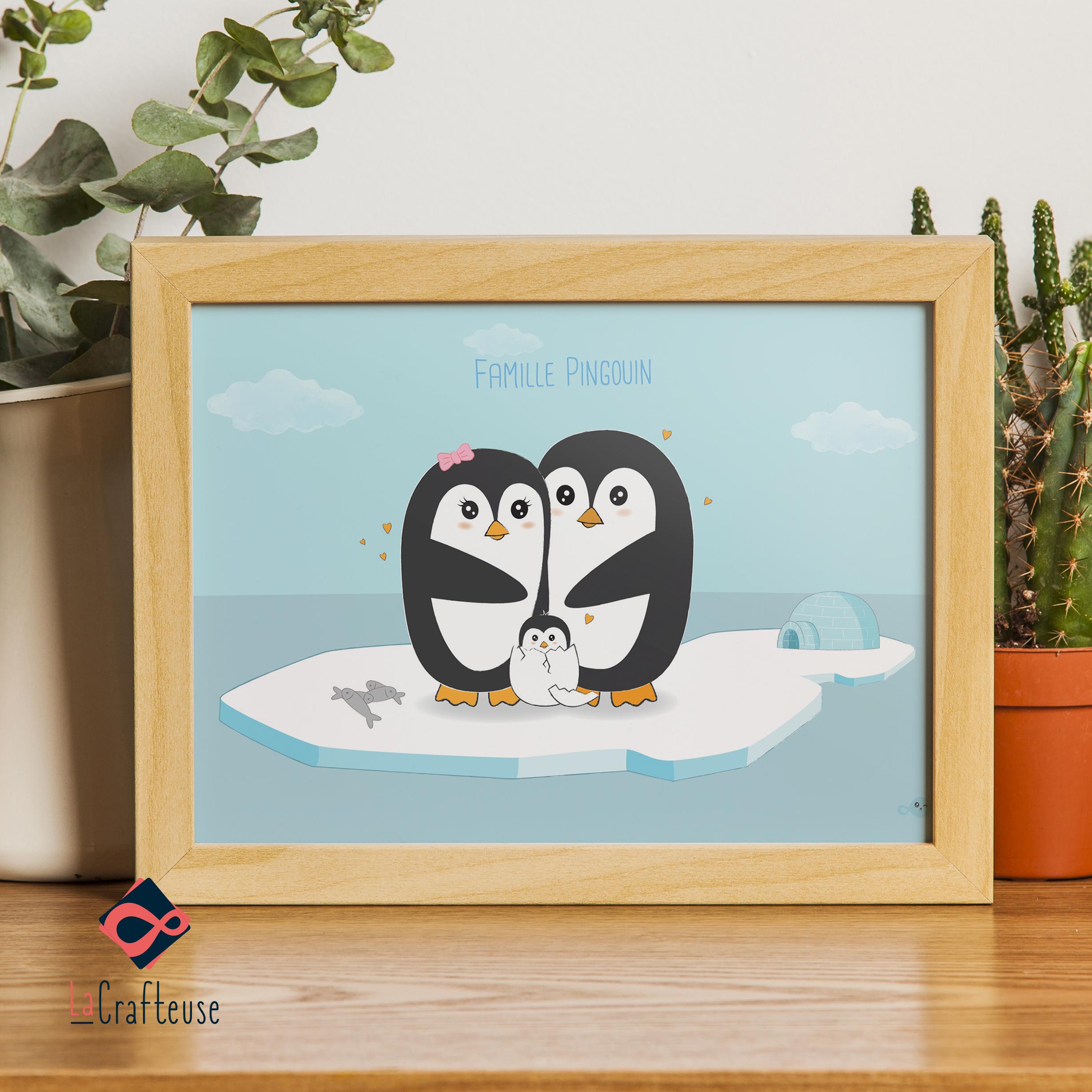 affiche personnalisable famille pingouin cadeau mignon