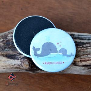 magnet baleine maman bébé artisan picardie
