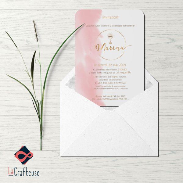 invitation communion personnalisée aquarelle rose gold