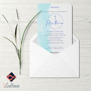 invitation communion bleu aquarelle ciboire