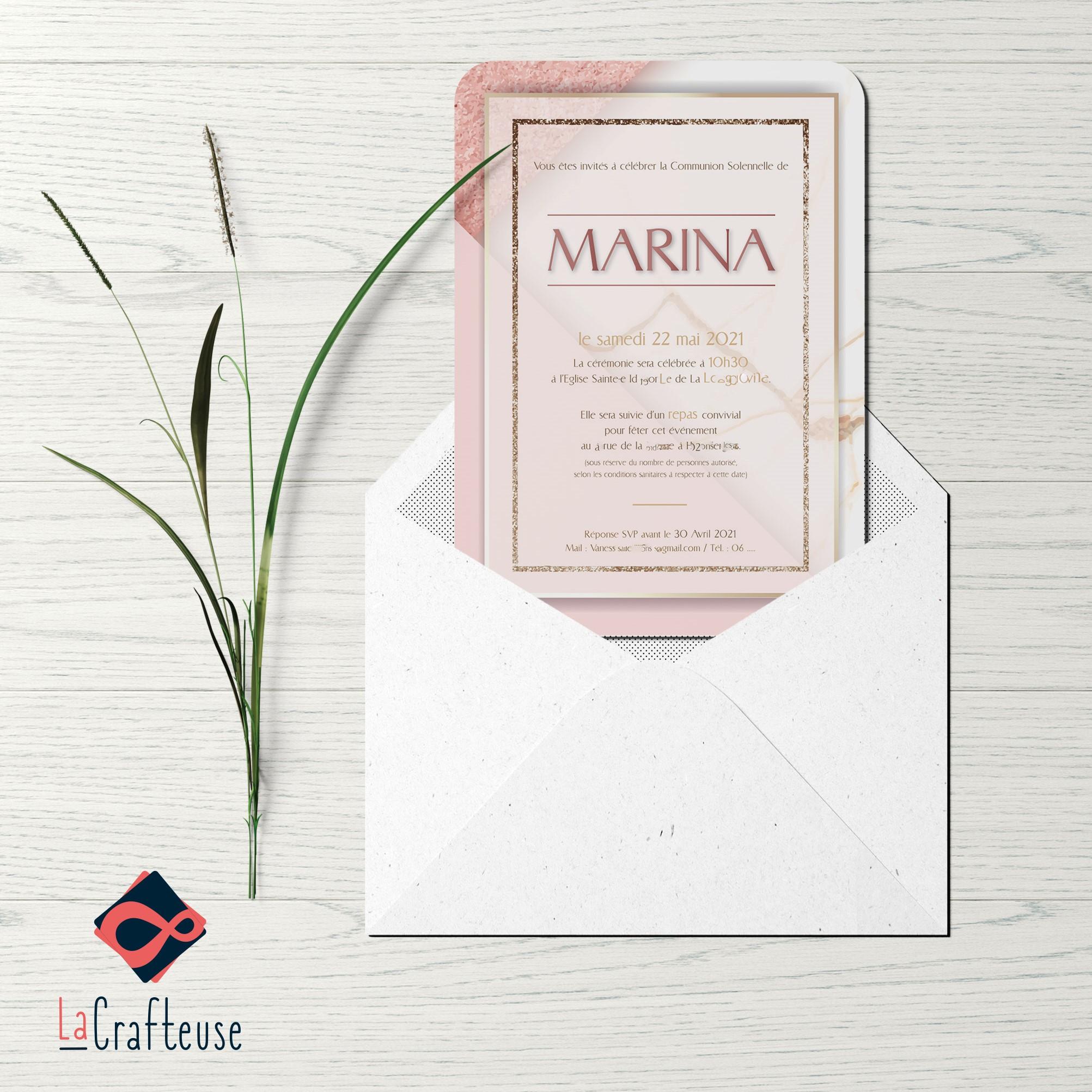 invitation communion graphique paillettes rose gold