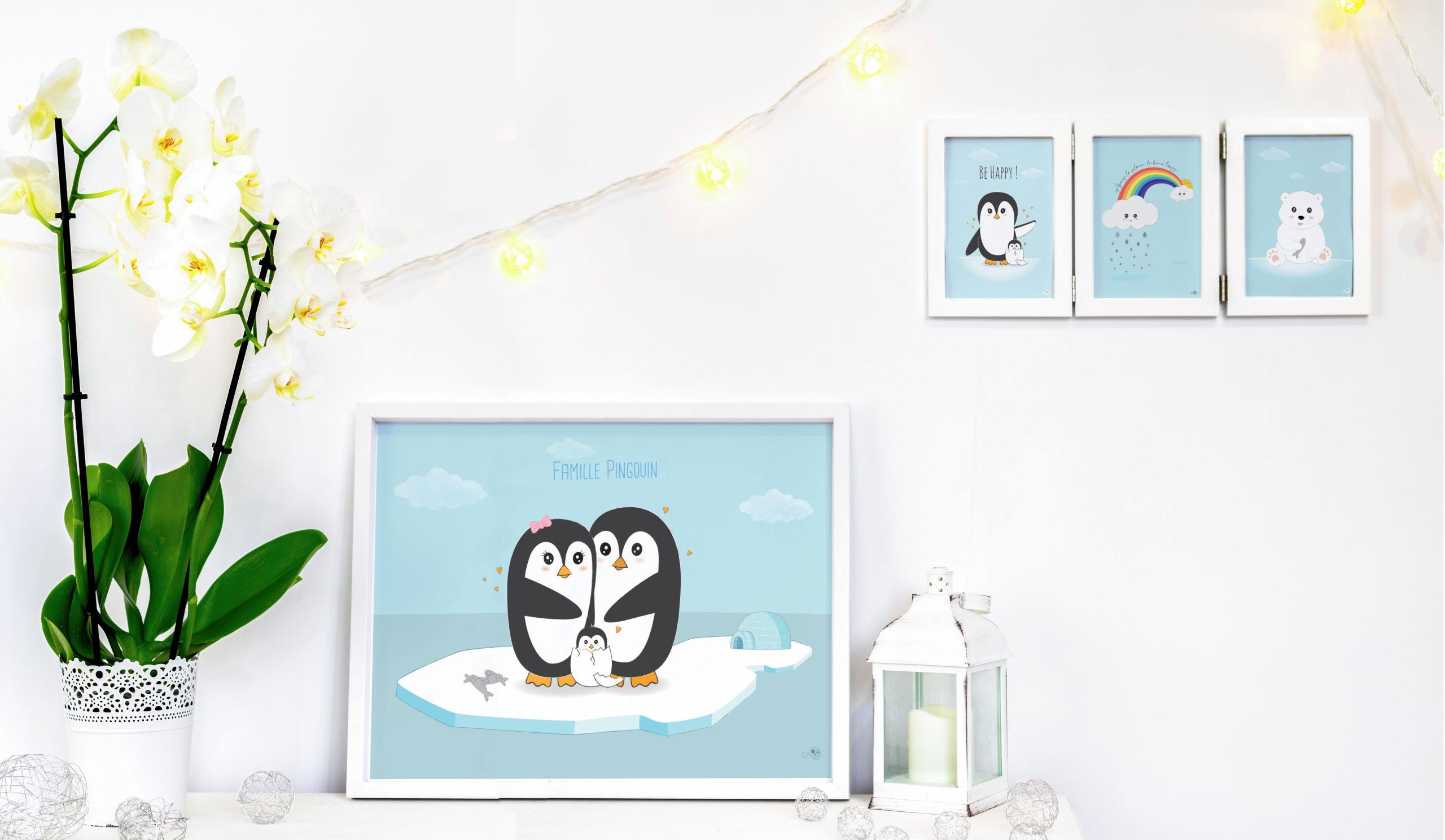 idée décoration cadre pingouin banquise chambre salon