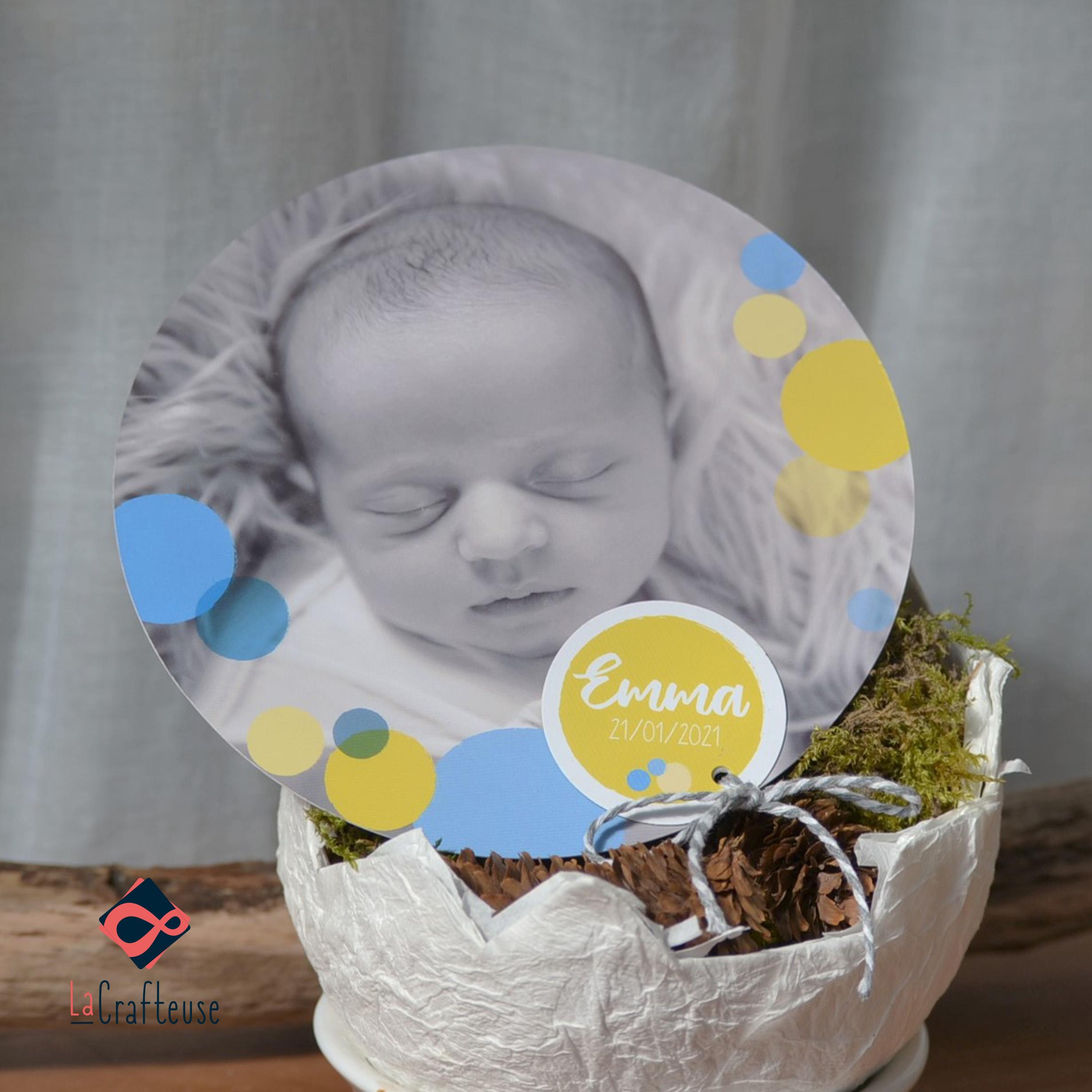 faire part naissance bulles jaune et bleu mixte