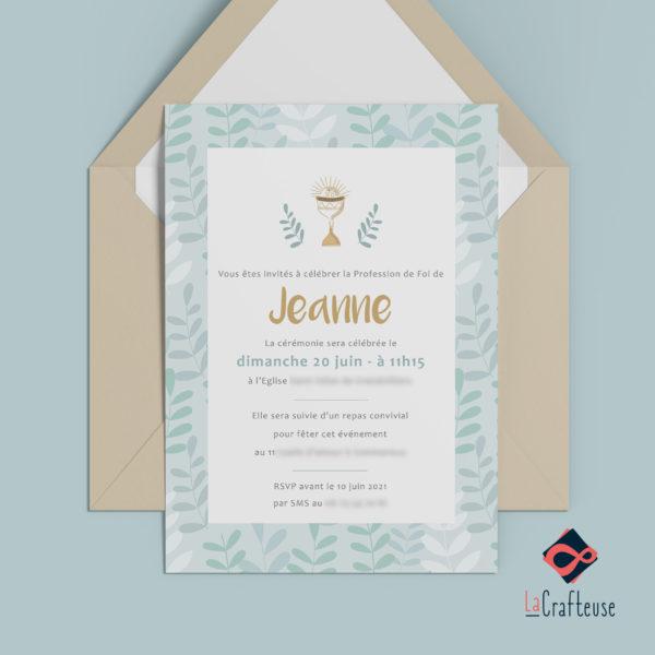 invitation communion feuillage nature ciboire tons pastels