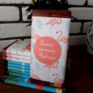 plaquette de chocolat cadeau maitresse fin d'année flamands roses