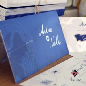 invitation mariage voyage bleu roi