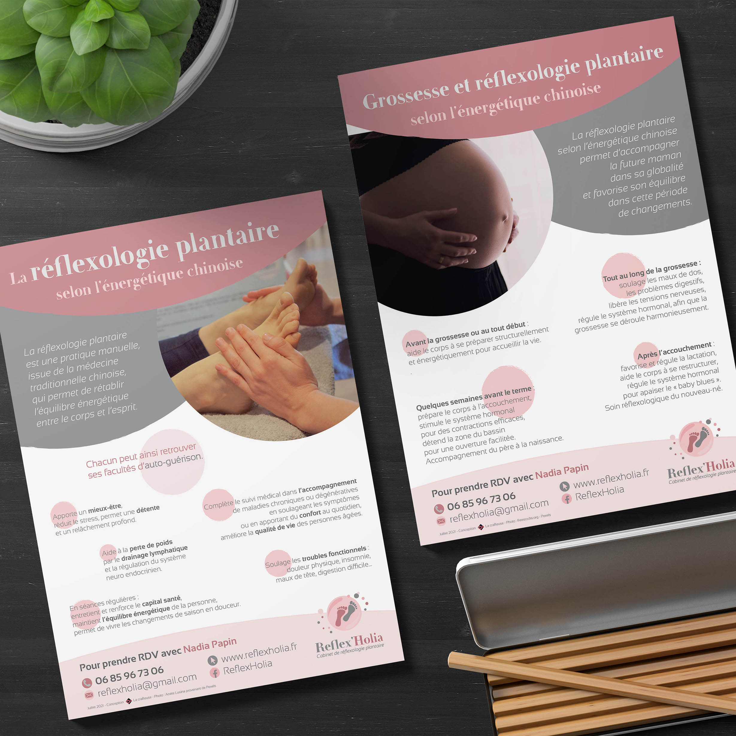 flyer A5 réflexologue communication design charte graphique
