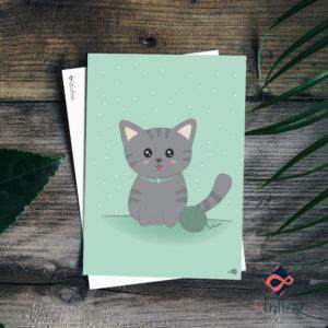 carte postale chaton fond vert création française