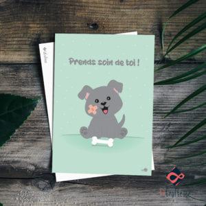 carte postale chien mignon prends soin de toi